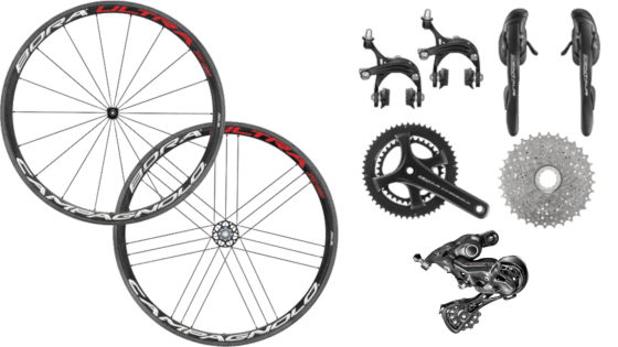 Campagnolo components: a carbon wheel set: Bora Ultra 35 for rim brake. A Campagnolo Record 12-speed rear derailleur complete with a Potenza gear/brake group-set.