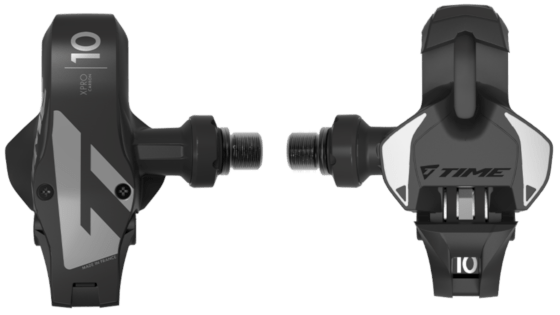 Racing bike pedals made of carbon with steel hollow axle of the French company Time. Model Xpresso 10, color: black