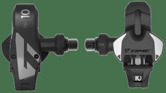 Pédales de vélo de course en carbone avec axe creux en acier de la société française Time. Modèle Xpresso 10, couleur : noir