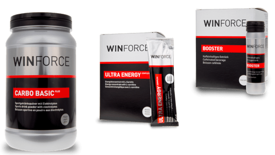 Produits de Winforce. Poudre : Carbo Basic Plus, Gel : Ultra Energy Complex, Caféine Shot : Booster