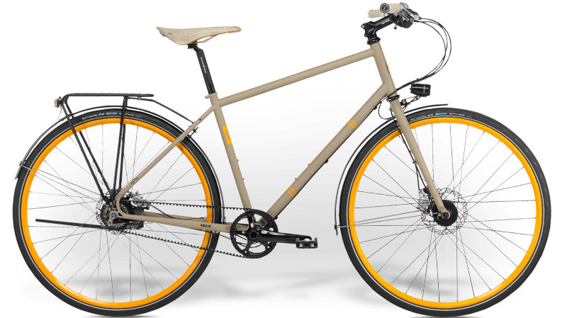 Ibex Citybike with steel frame, gear hub, belt drive, mudguard and lighting, custom painted rims