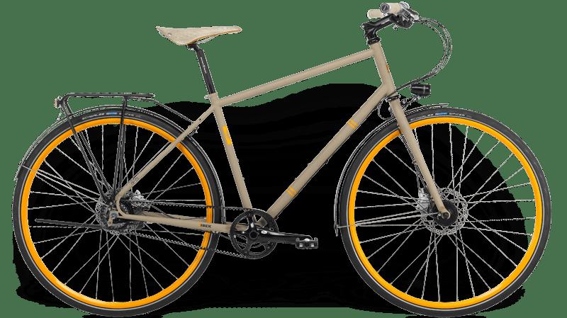 Ibex Citybike avec cadre en acier, moyeu à engrenages, transmission par courroie, garde-boue et éclairage, jantes peintes