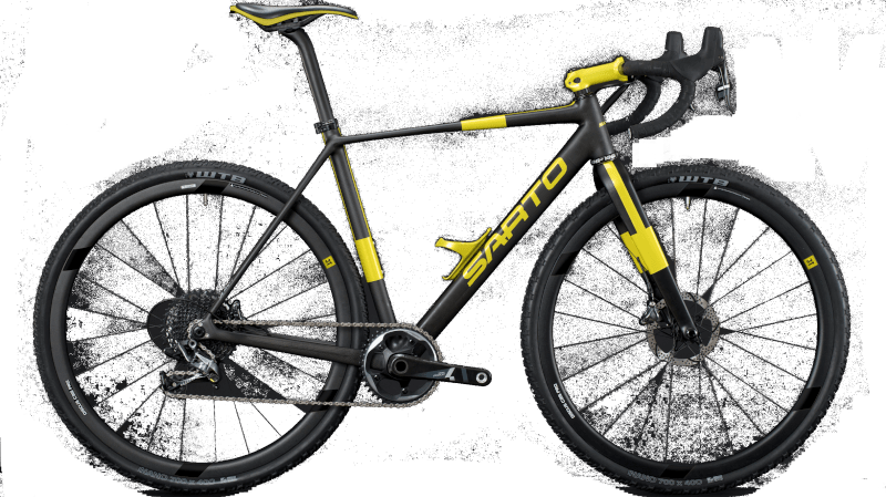 Gravelbike with disc brake from the company Sarto in italy with carbon frame. Color: Carbon and Yellow