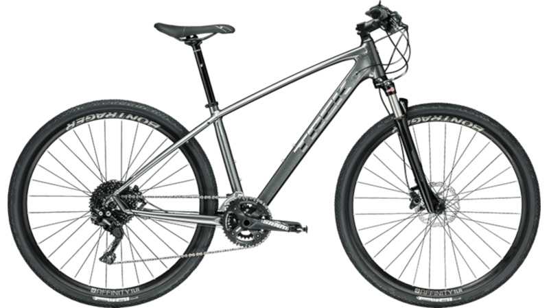 Trek Fitnessbike: a grey cross-trekking bike with 28 inch wheels, aluminium frame and suspension fork.